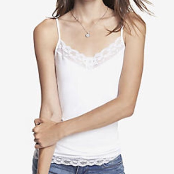 ac75cc1aa7 Express Tops - White Express Lace Trimmed Bra Cami
